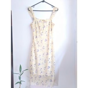 Early 2000s Yellow/Blue Floral Boho Slip Dress